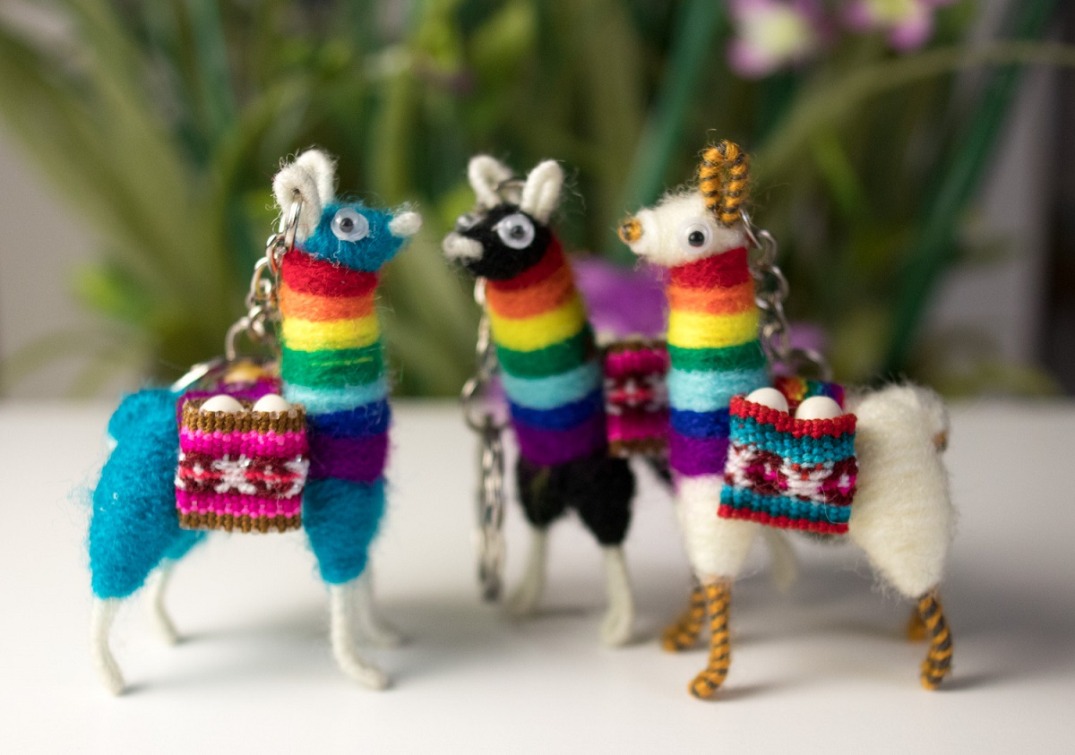 Key Chain Llama From Cuzco With Rainbow Scarf