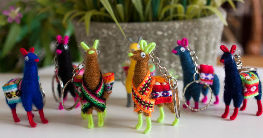 Knitted Llama Key Chain Assorted Colors Wholesale