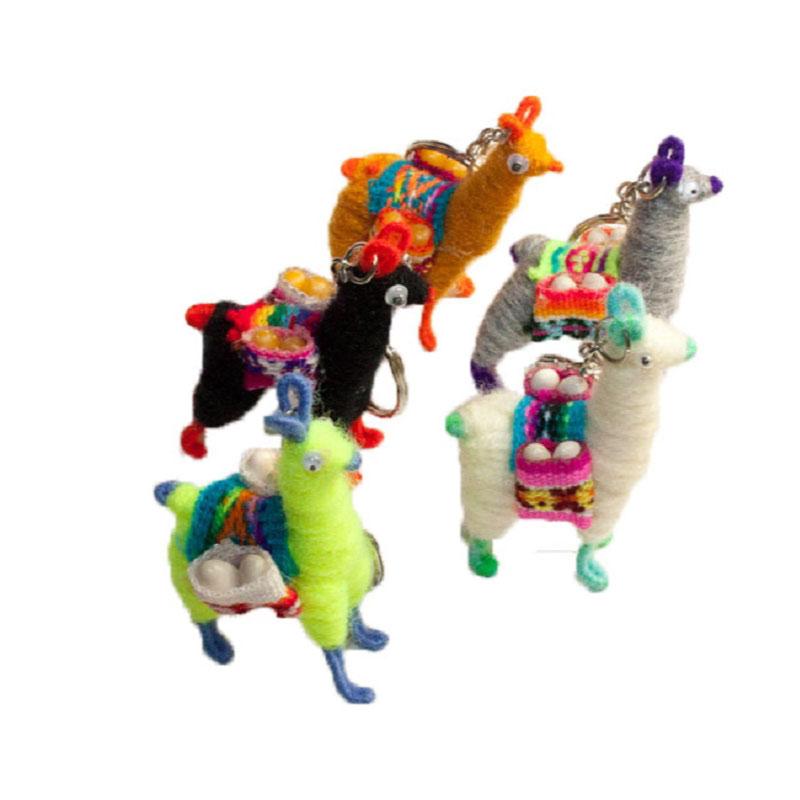 Tiny Andean Llama Key Chain Set of Five Mixed Colors