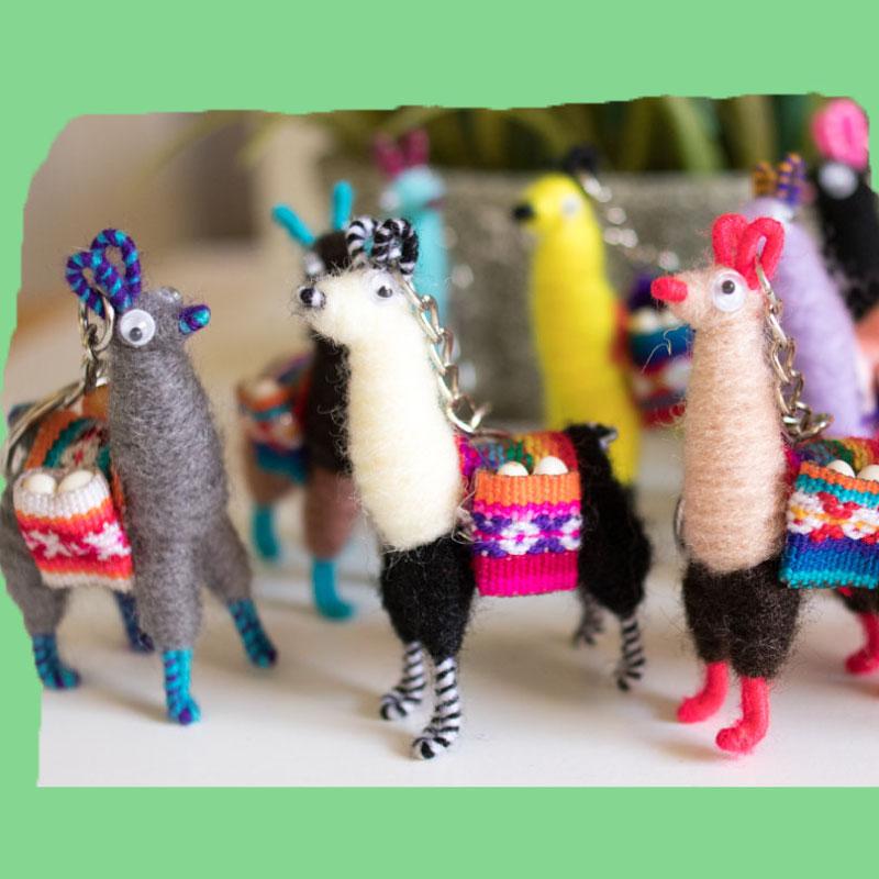 Miniature Collectible Peruvian Llama Key Chain set of 12