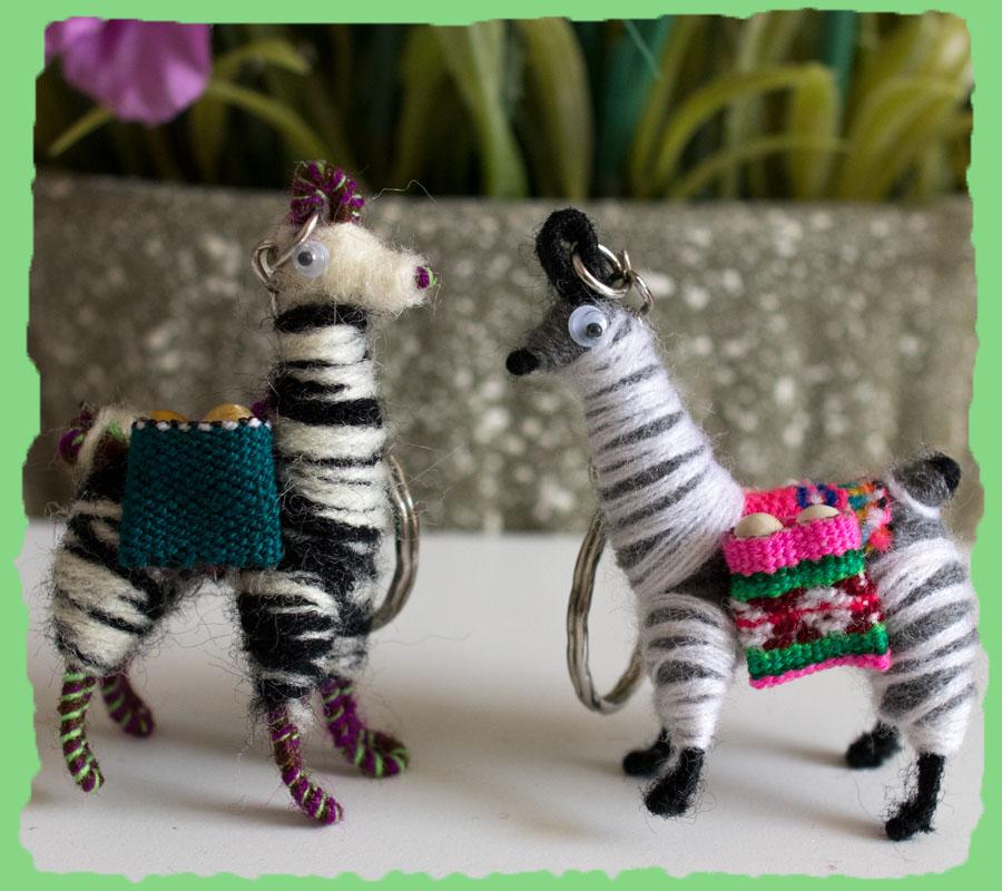Tiny Andean Llama Key Chain Miniature Zebra Theme
