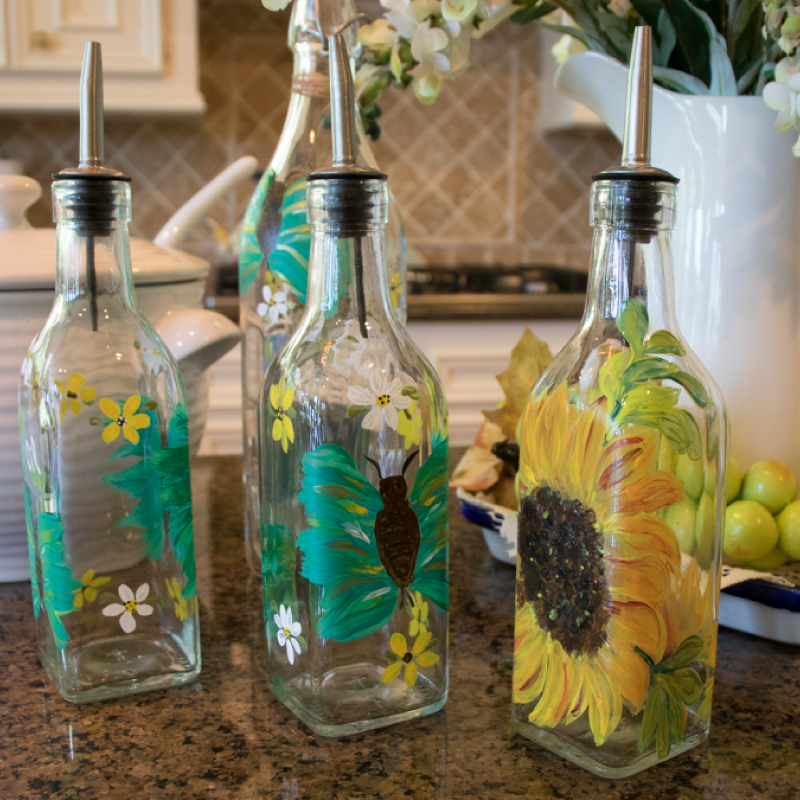 Hand Painted Olive Oil Glass Bottle Butterfly