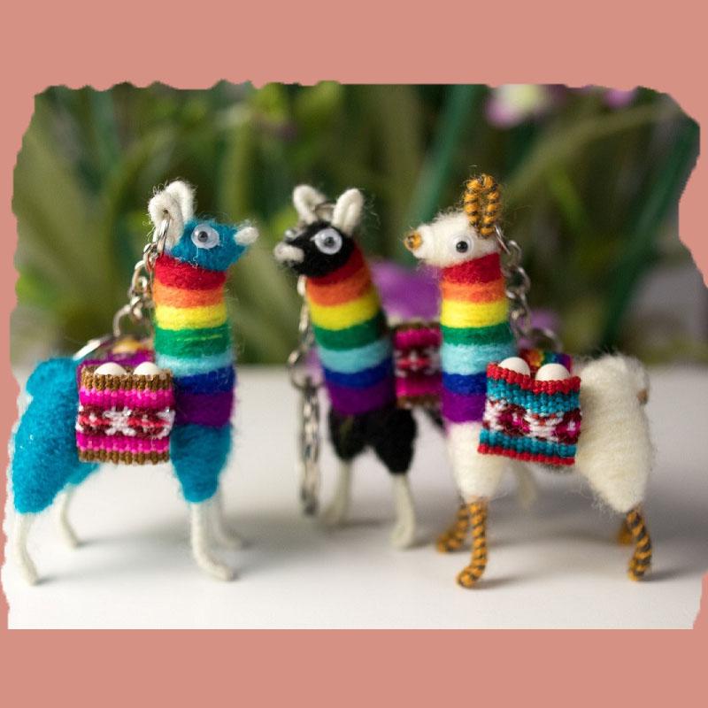 Handmade Llama Key Chain Rainbow Set of 20
