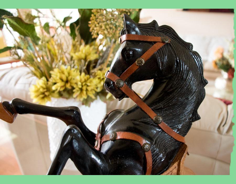 Wooden Hand Carved Black Horse