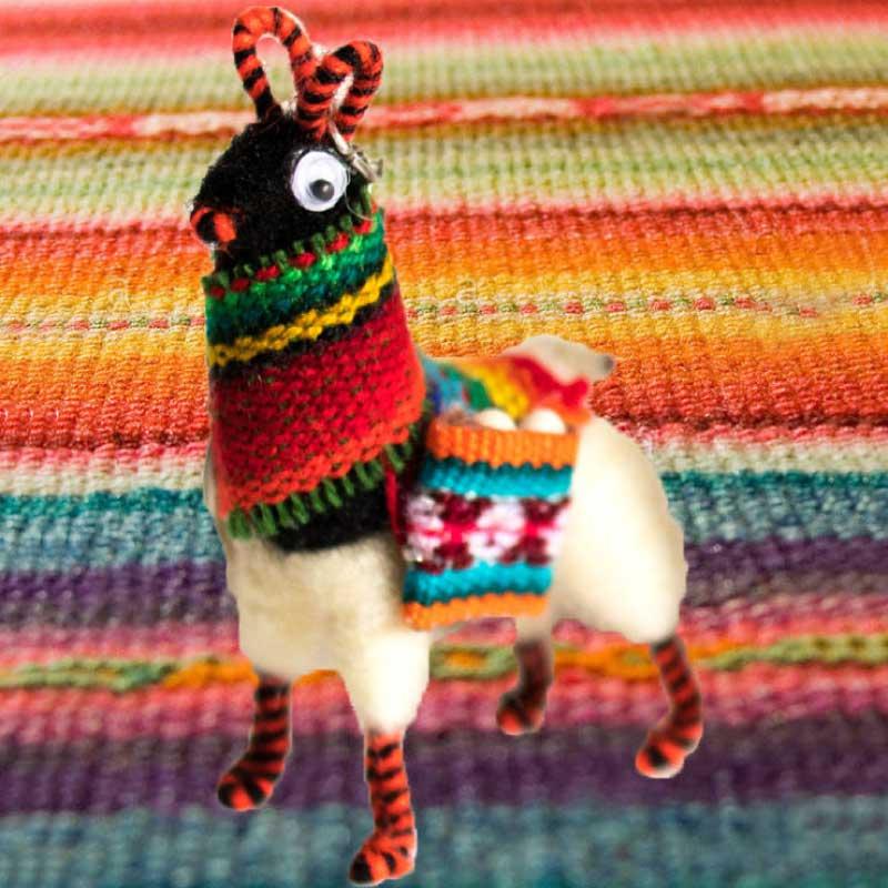 Handmade Llama Key Chain With Scarf Cuzco Peru set of 3