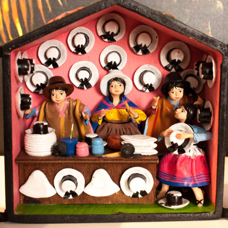 Andean Wooden Retable Ornament Hat Store