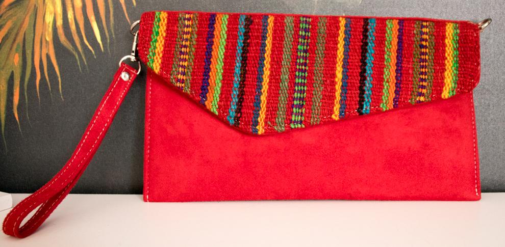 Handmade Alpaca Wool Suede Striped Clutch