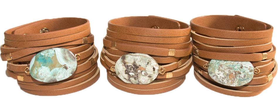 Leather Bracelet with Turquoise Stone