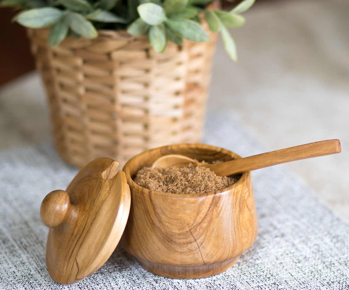 anniversaries house-warming Olive Wood Sugar Bowl With a Spoon Handmade Perfect for weddings special occasions